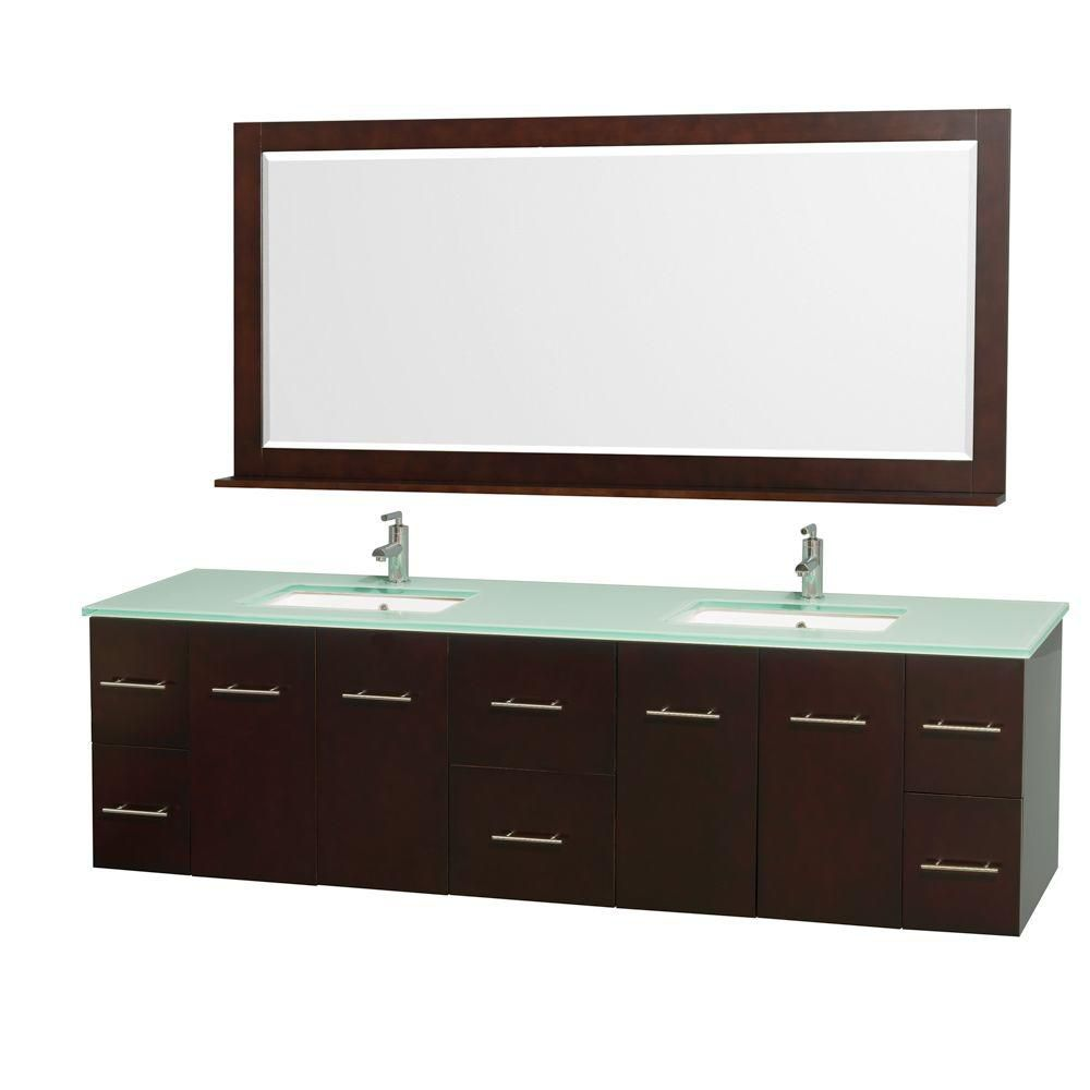 Centra 80-inch W 6-Drawer 4-Door Wall Mounted Vanity in Brown With Top in Green, Double Basins