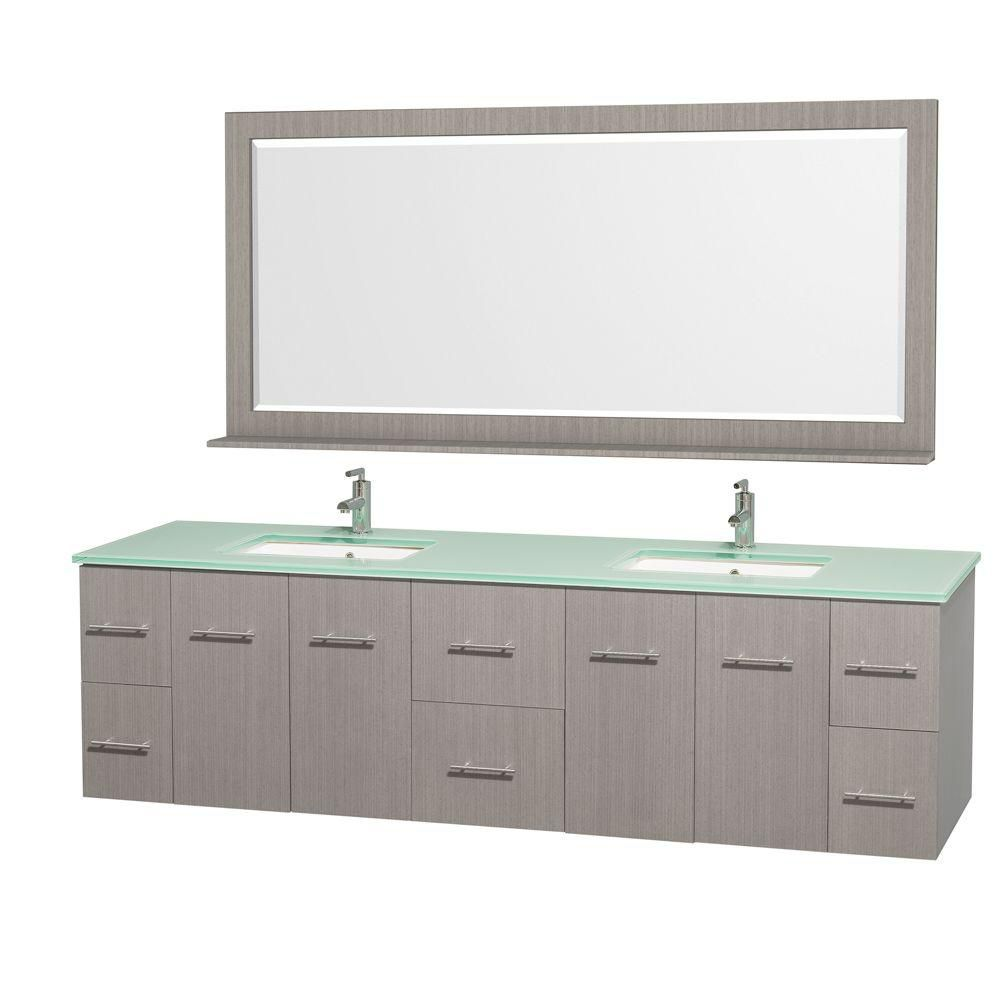 Centra 80-inch W Double Vanity in Grey Oak with Glass Top in Aqua and White Square Sinks