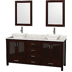 Wyndham Collection Lucy 72-inch W 6-Drawer 4-Door Vanity in Brown With Marble Top in White, Double Basins With Mirror
