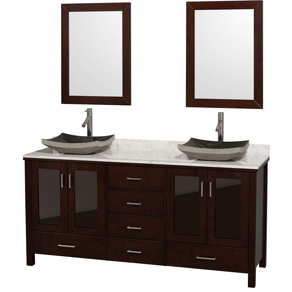 Lucy 72-inch W Vanity in Espresso with Marble Top in Carrara White and Mirrors