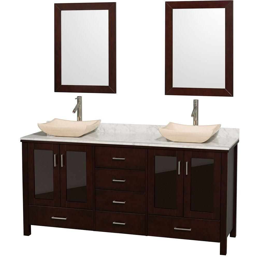 Lucy 72-inch W 6-Drawer 4-Door Vanity in Brown With Marble Top in White, Double Basins With Mirror