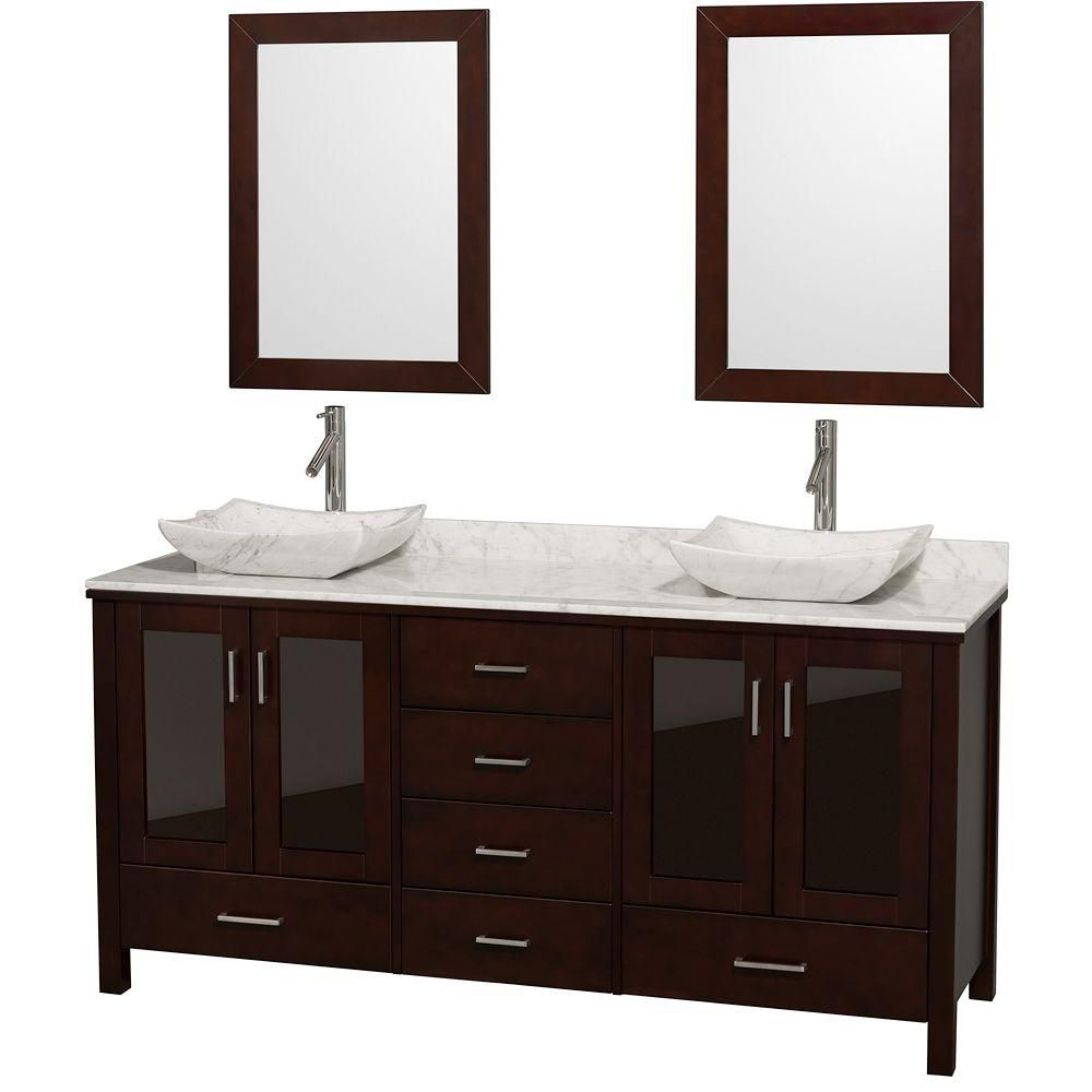 Lucy 72-inch W Double Vanity in Espresso with Marble Top in Carrara White and Mirrors