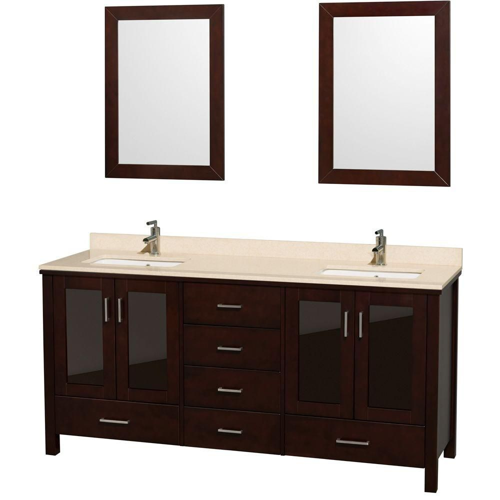Lucy 72-inch W Vanity in Espresso with Marble Top in Ivory and Undermount Sink