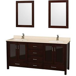 Wyndham Collection Lucy 72-inch W 6-Drawer 4-Door Vanity in Brown With Marble Top in Beige Tan, Double Basins