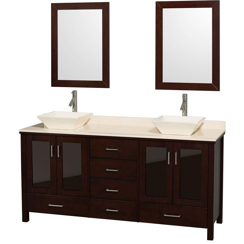 Lucy 72-inch W Vanity in Espresso with Marble Top in Ivory, Bone Porcelain Sinks and Mirrors