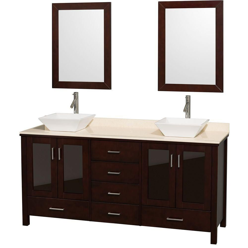 Lucy 72-inch W Vanity in Espresso with Marble Top in Ivory, White Porcelain Sinks and Mirrors