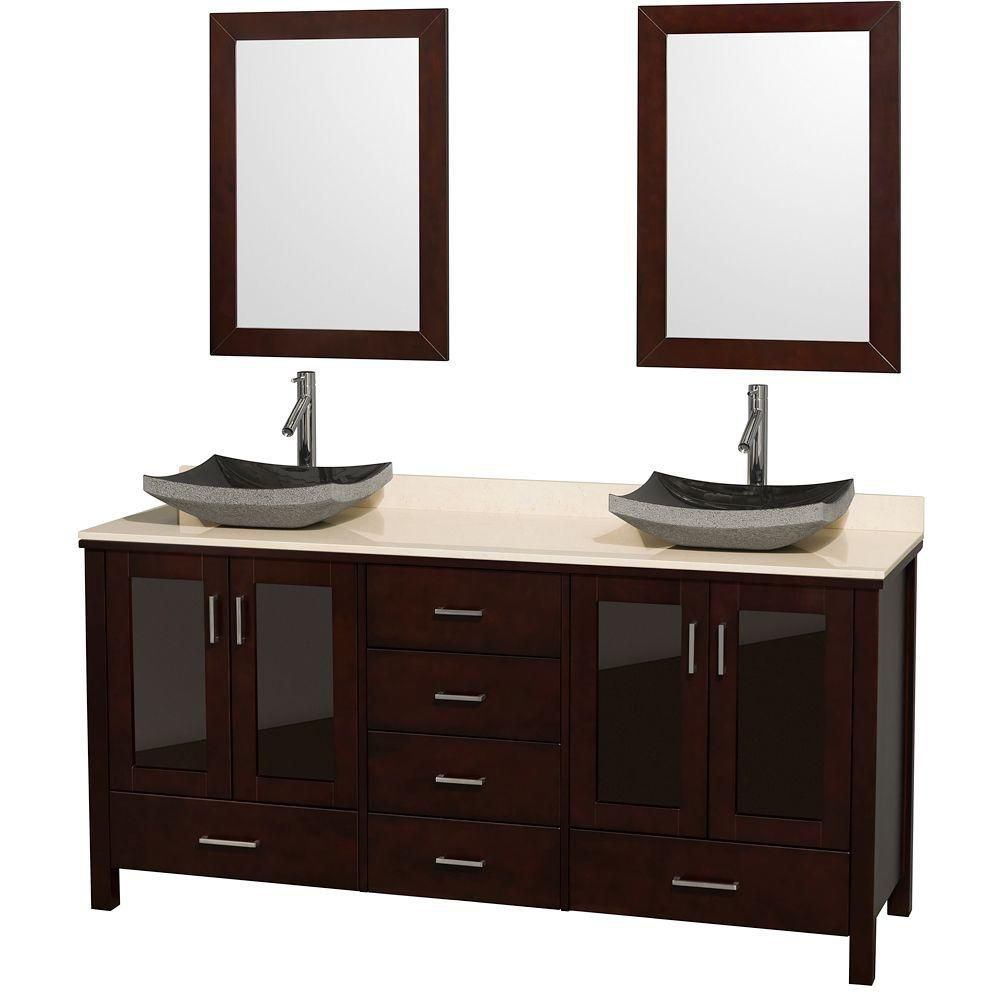 Lucy 72-inch W Vanity in Espresso with Marble Top in Ivory, Black Granite Sinks and Mirrors