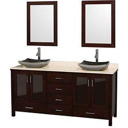 Wyndham Collection Lucy 72 po Meuble espresso et revêtement en marbre ivoire, éviers en granit noir et miroir