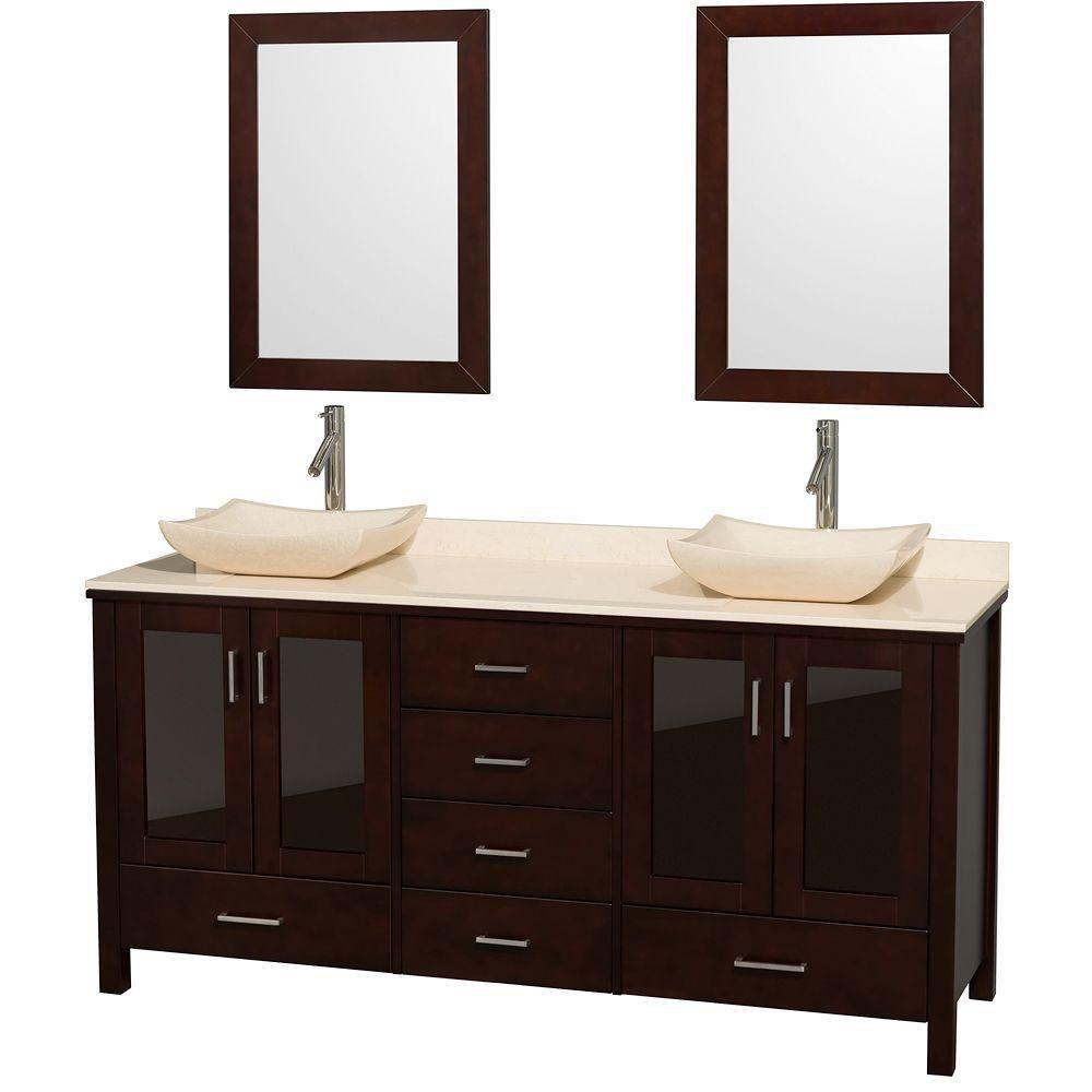 Lucy 72-inch W 6-Drawer 4-Door Vanity in Brown With Marble Top in Beige Tan, Double Basins