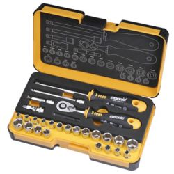 Felo R-GO 1/4 in. 27-Piece Ergonic Ratchet - Stubby - Multi-Tools set MM INCH