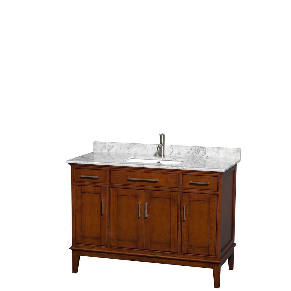 Hatton 48-inch W Vanity in Light Chestnut with Marble Top in Carrara White and Square Sink