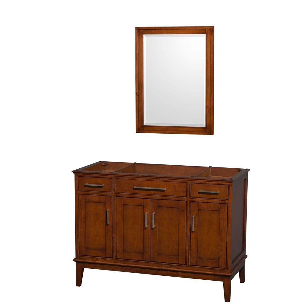 Hatton 47-Inch  Vanity Cabinet with Mirror in Light Chestnut
