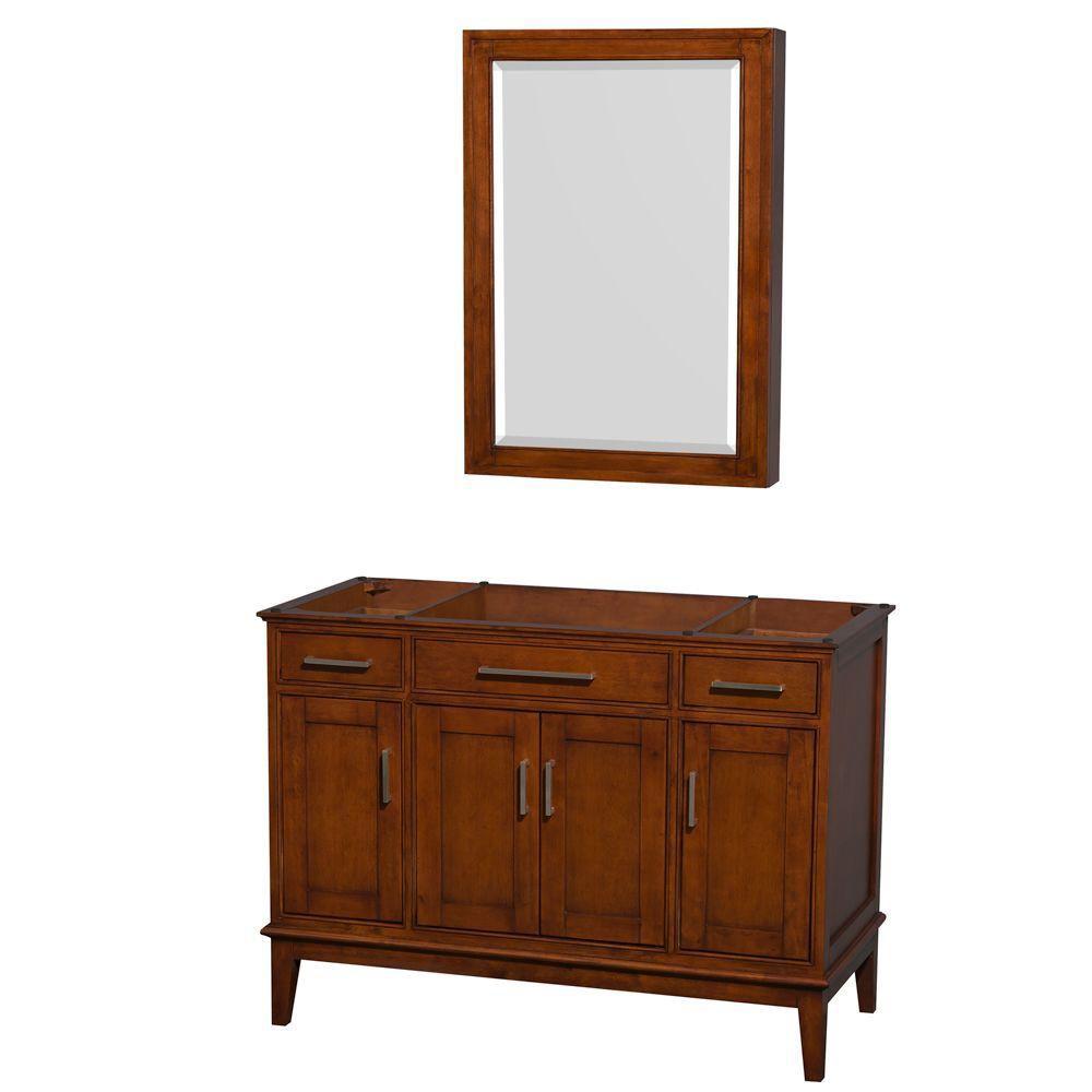 Hatton 47-Inch  Vanity Cabinet with Mirror Medicine Cabinet in Light Chestnut