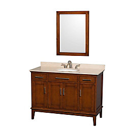 Wyndham Collection Hatton 48-inch W 2-Drawer 4-Door Vanity in Brown With Marble Top in Beige Tan With Mirror