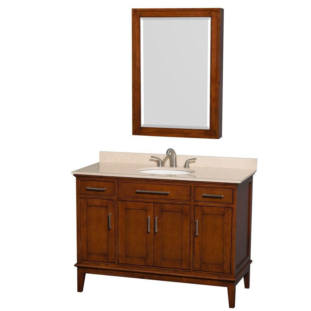 Hatton 48-inch W Vanity in Light Chestnut with Marble Top in Ivory, Sink and Medicine Cabinet