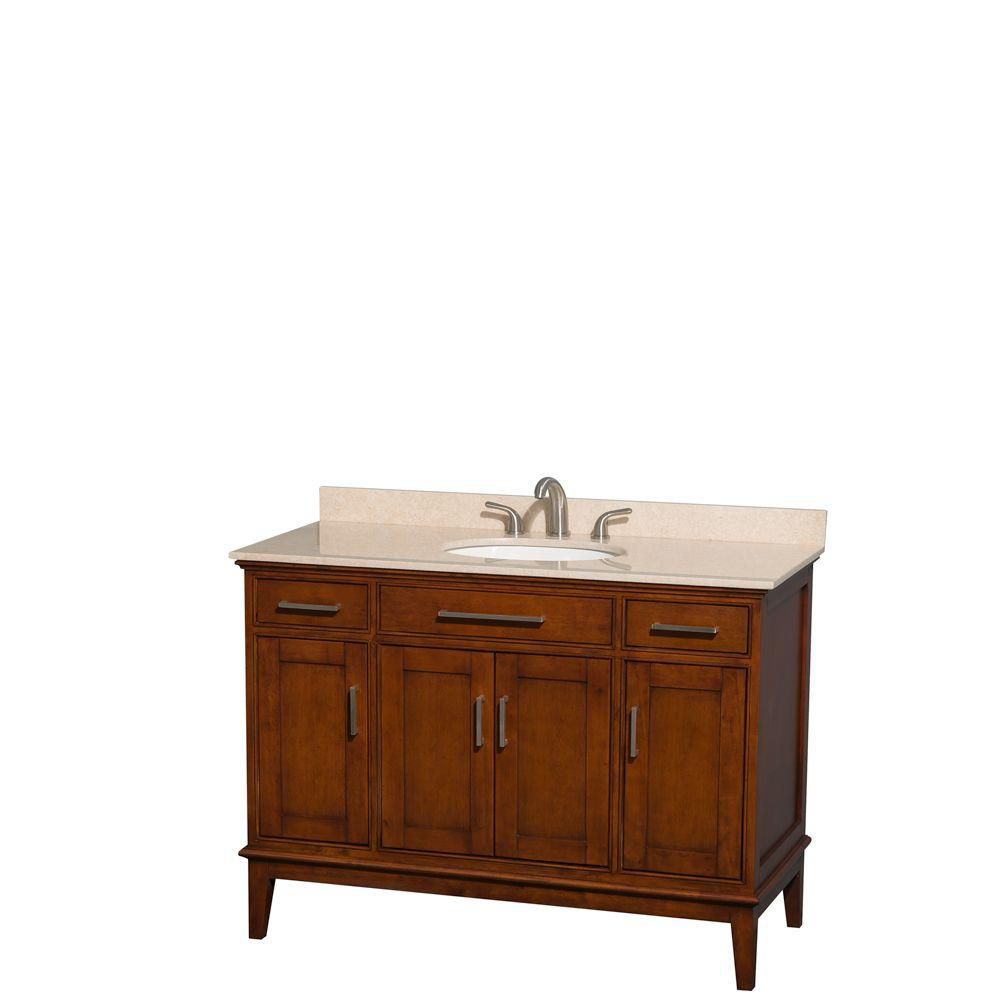 Hatton 48-inch W Vanity in Light Chestnut with Marble Top in Ivory and Oval Sink