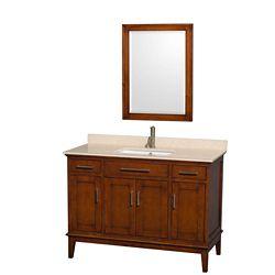 Wyndham Collection Hatton 48 po Meuble châtain clair et revêt. en marbre ivoire, évier carré et de 61cm 24po Miroir