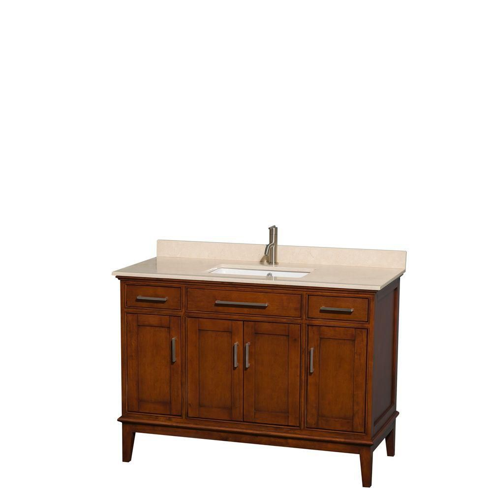 Hatton 48-inch W Vanity in Light Chestnut with Marble Top in Ivory and Square Sink