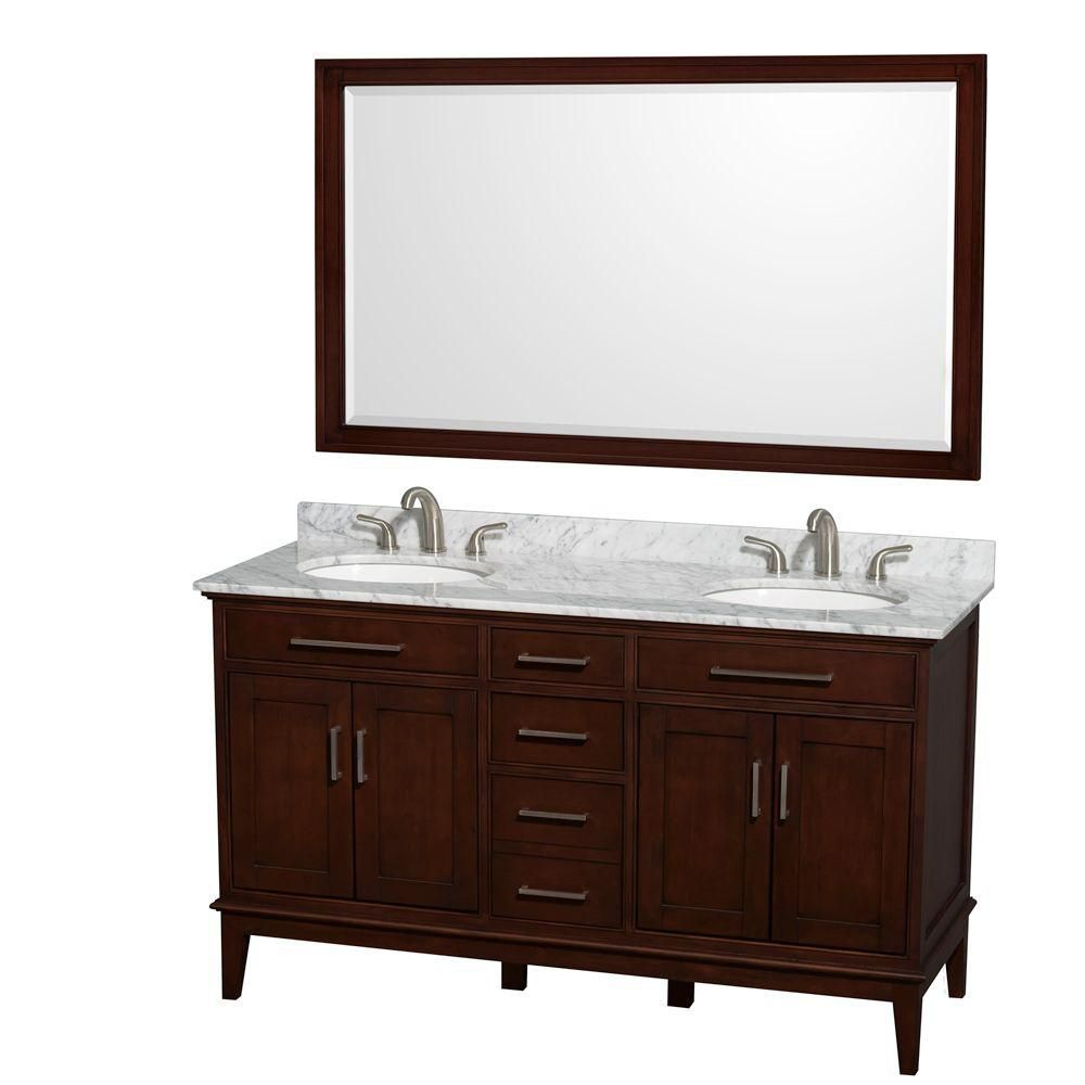 Hatton 60-inch W Double Vanity in Dark Chestnut with Marble Top in Carrara White and 56-inch Mirr...