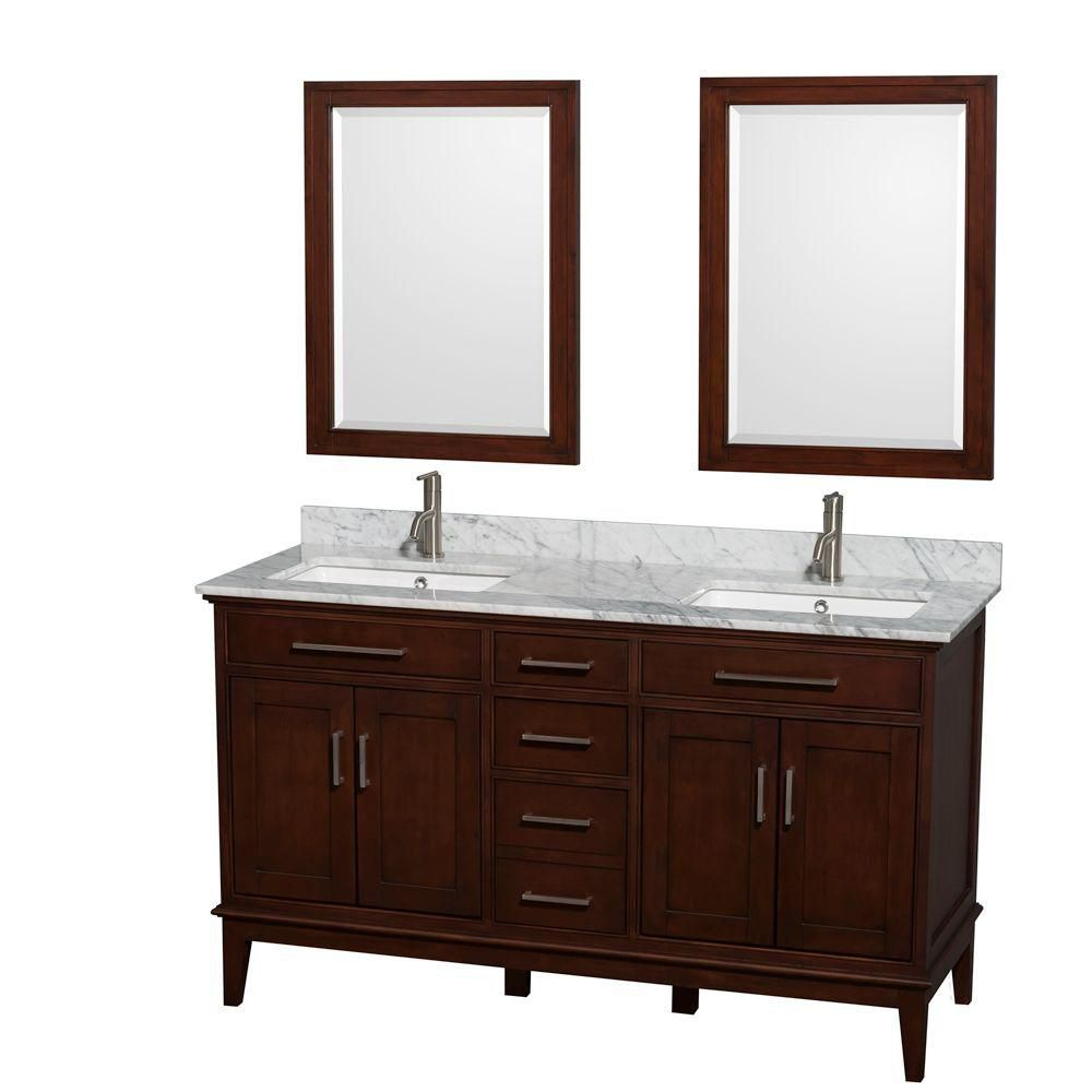 Hatton 60-inch W Double Vanity in Dark Chestnut with Marble Top in Carrara White and Mirrors