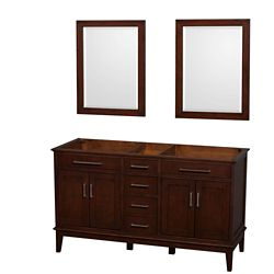 Wyndham Collection Hatton 59-inch  Vanity Cabinet with Mirror in Dark Chestnut
