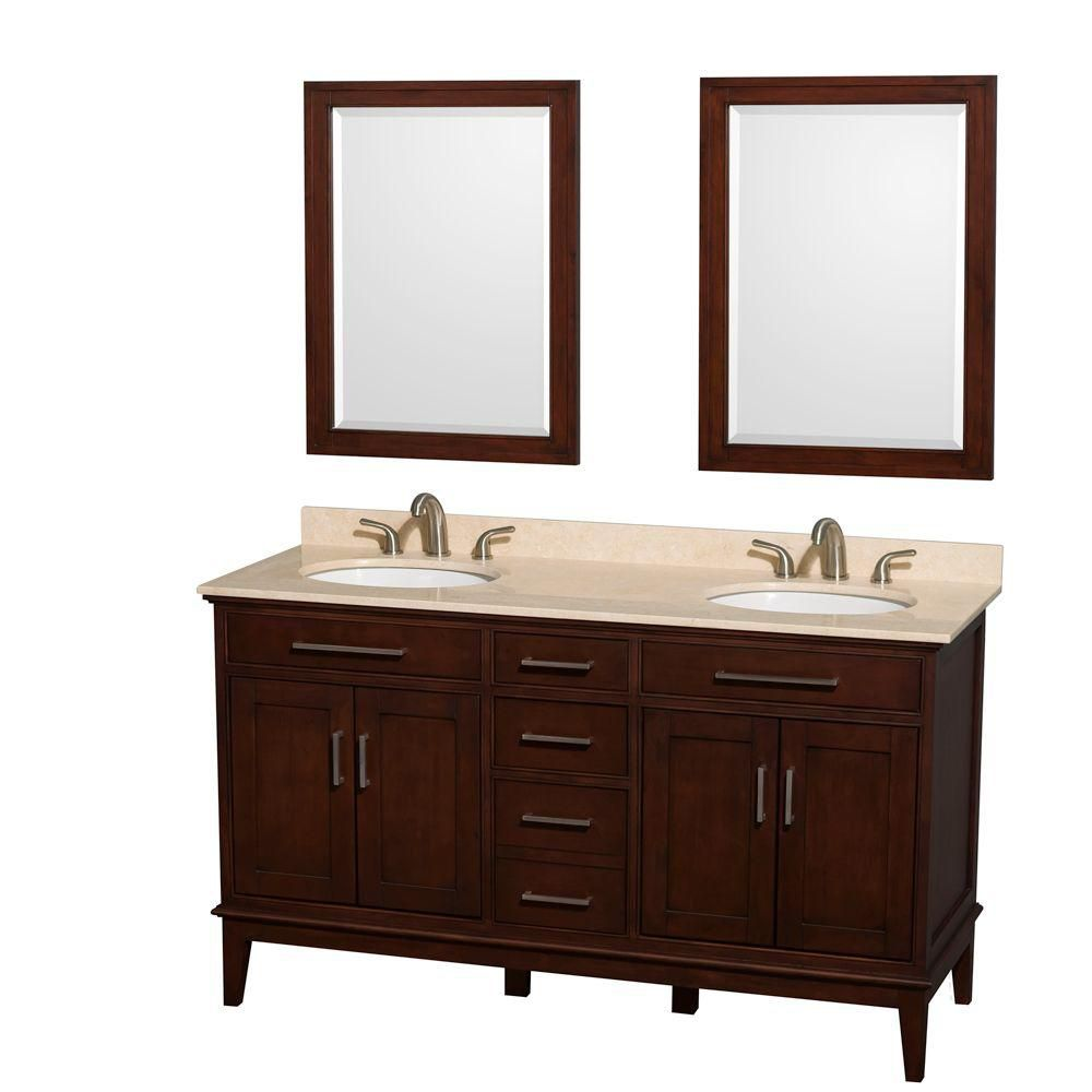 Hatton 60-inch W Double Vanity in Dark Chestnut with Marble Top, Square Sinks and 24-inch Mirror
