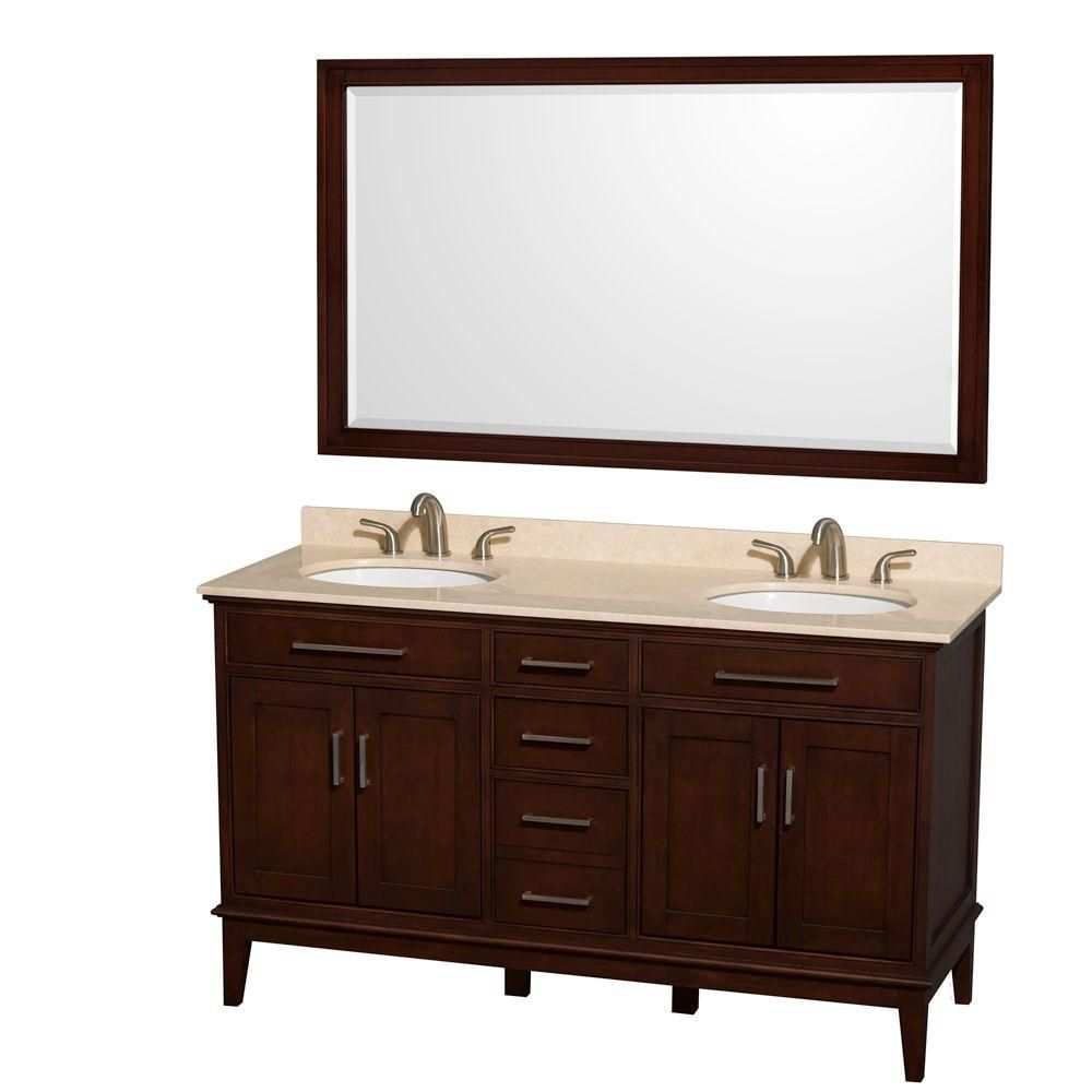 Hatton 60-inch W Double Vanity in Dark Chestnut with Marble Top, Sinks and 56-inch Mirror