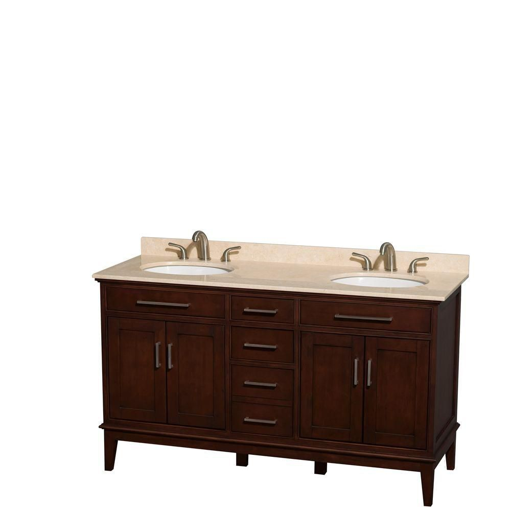 Hatton 60-inch W Double Vanity in Dark Chestnut with Marble Top in Ivory and Oval Sinks