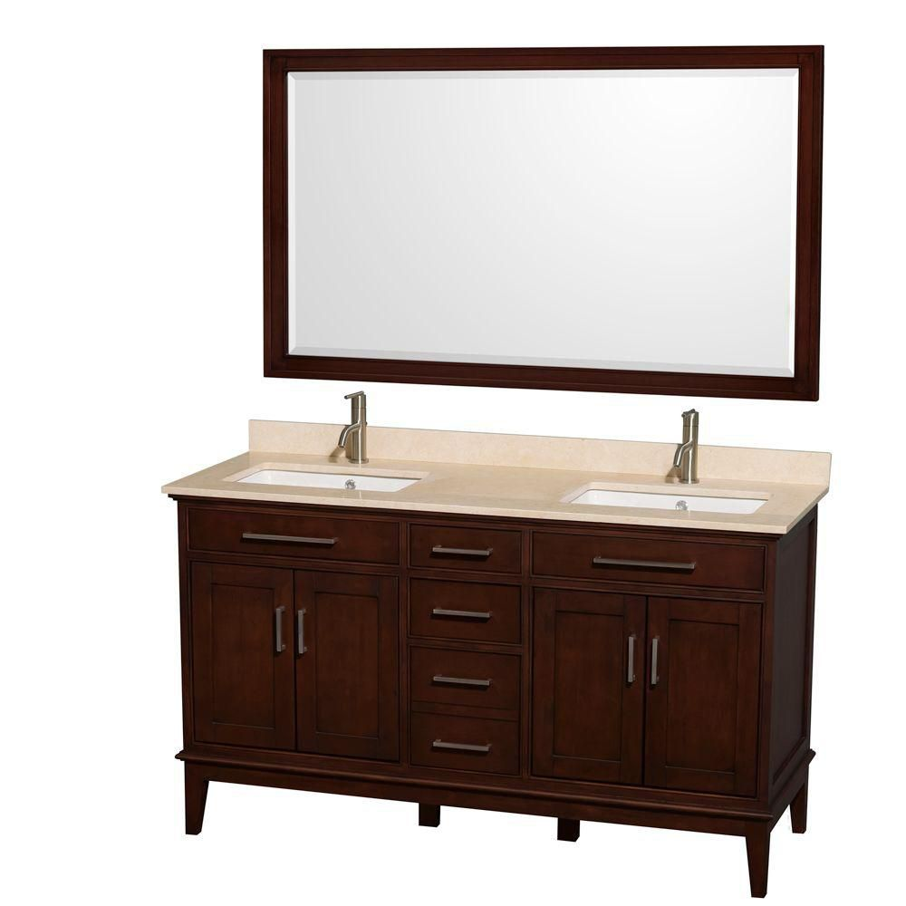 Hatton 60-inch W 3-Drawer 4-Door Vanity in Brown With Marble Top in Beige Tan, Double Basins