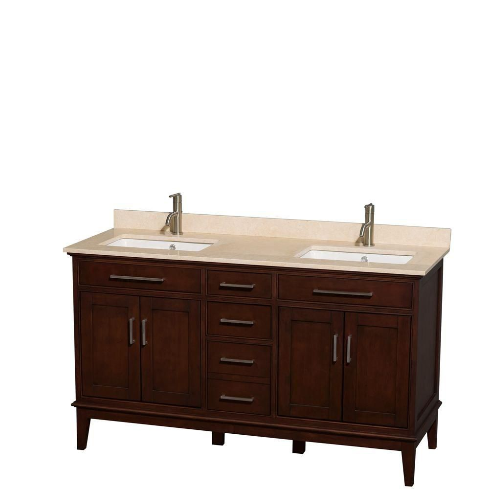 Hatton 60-inch W Double Vanity in Dark Chestnut with Marble Top in Ivory and Square Sinks