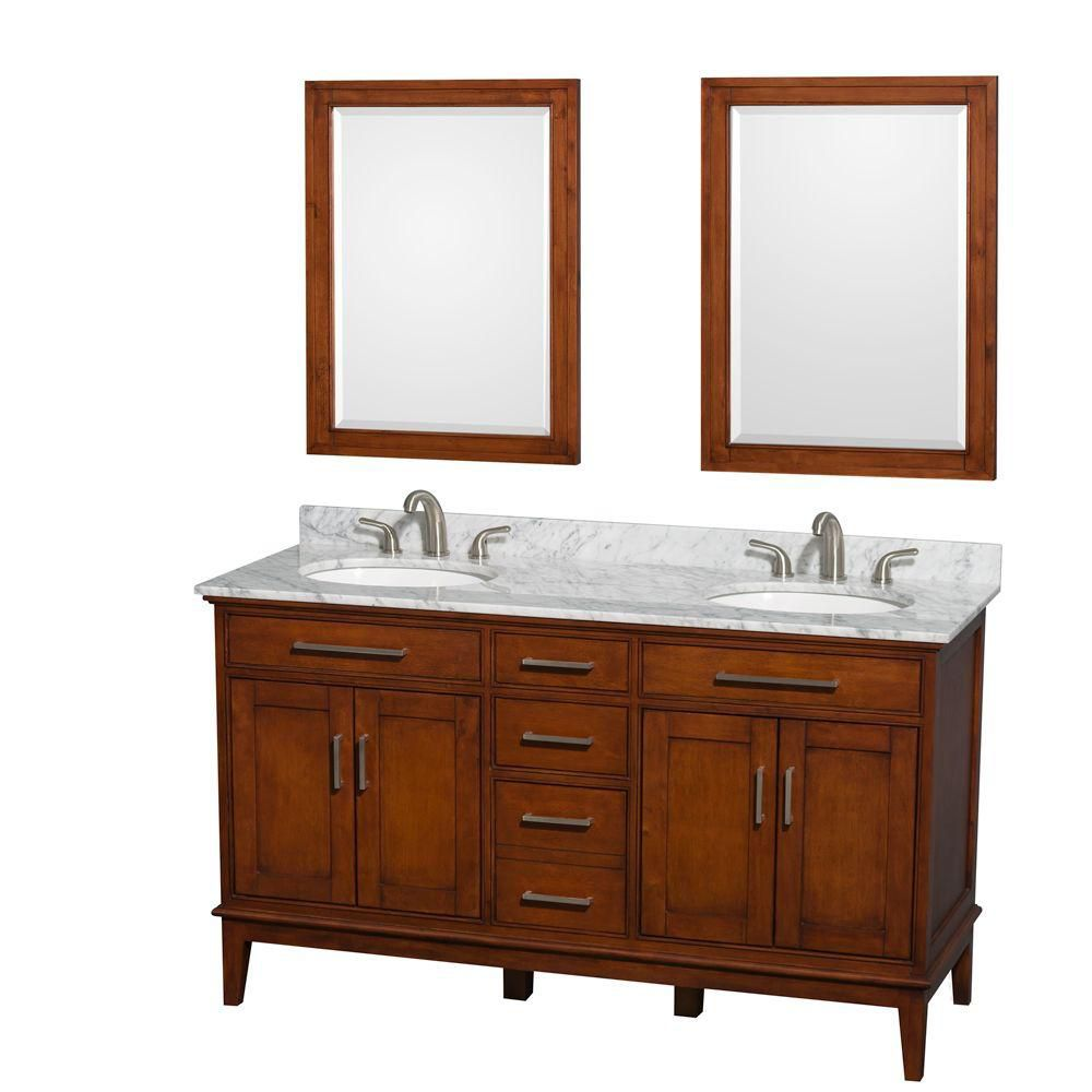 Hatton 60-inch W Double Vanity in Light Chestnut with Marble Top, White Sinks and Mirrors