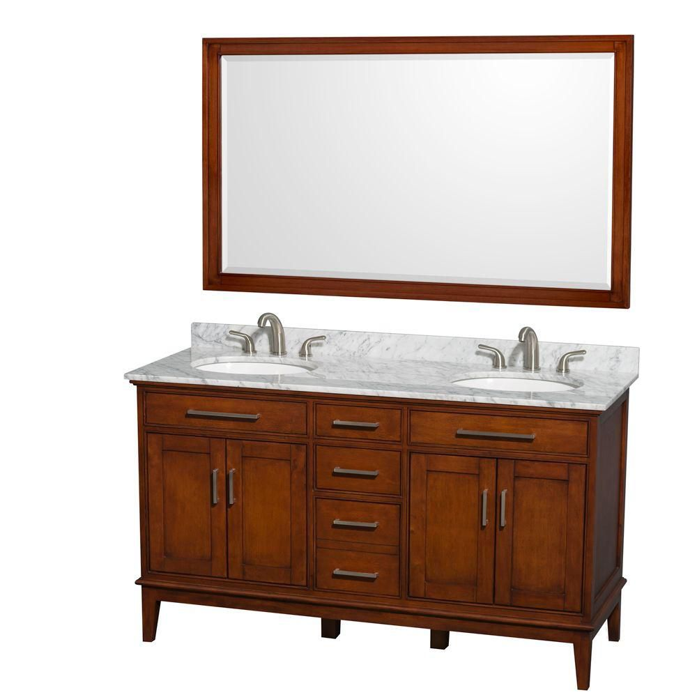 Hatton 60-inch W Double Vanity in Light Chestnut with Marble Top, Sinks and 56-inch Mirror