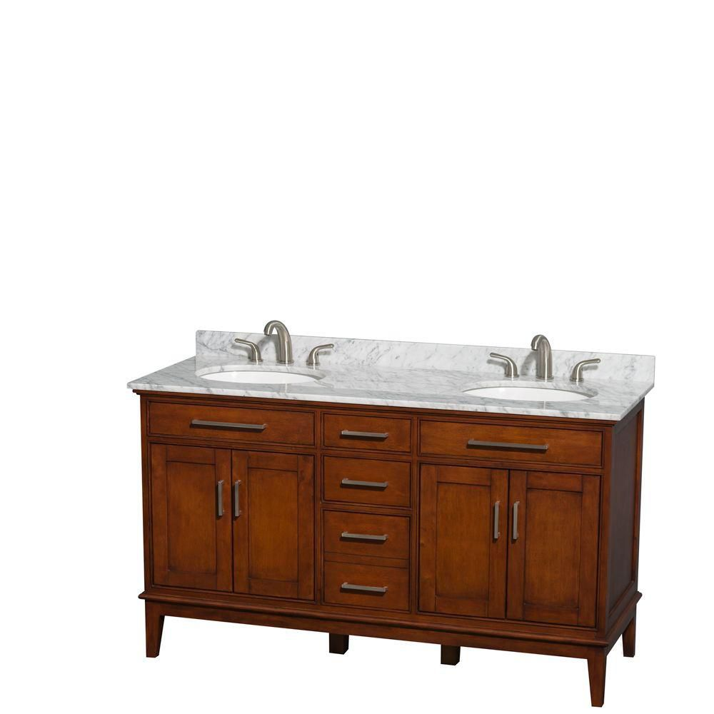 Hatton 60-inch W Double Vanity in Light Chestnut with Marble Top in Carrara White and Oval Sinks