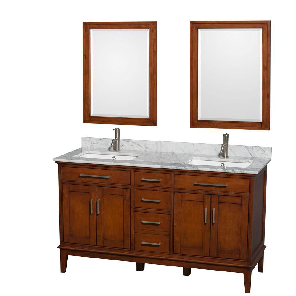 Hatton 60-inch W Double Vanity in Light Chestnut with Marble Top in Carrara White and Mirrors