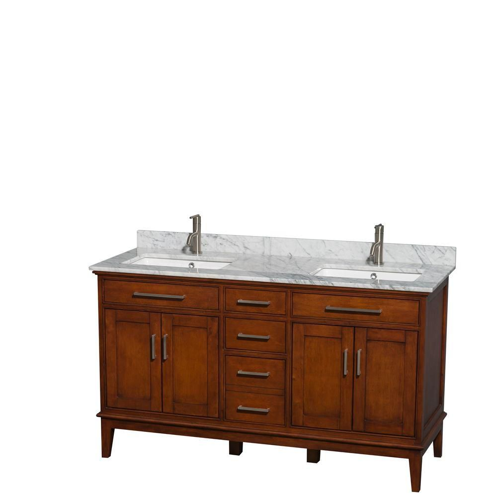Hatton 60-inch W Double Vanity in Light Chestnut with Marble Top and Square Sinks