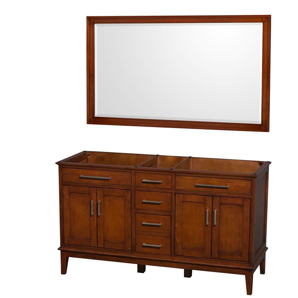 Hatton de 59 po Meuble avec miroir en châtain clair