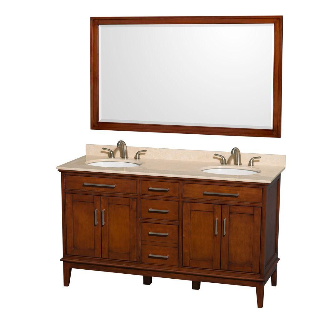 Hatton 60-inch W Double Vanity in Light Chestnut with Marble Top in Ivory and 56-inch Mirror
