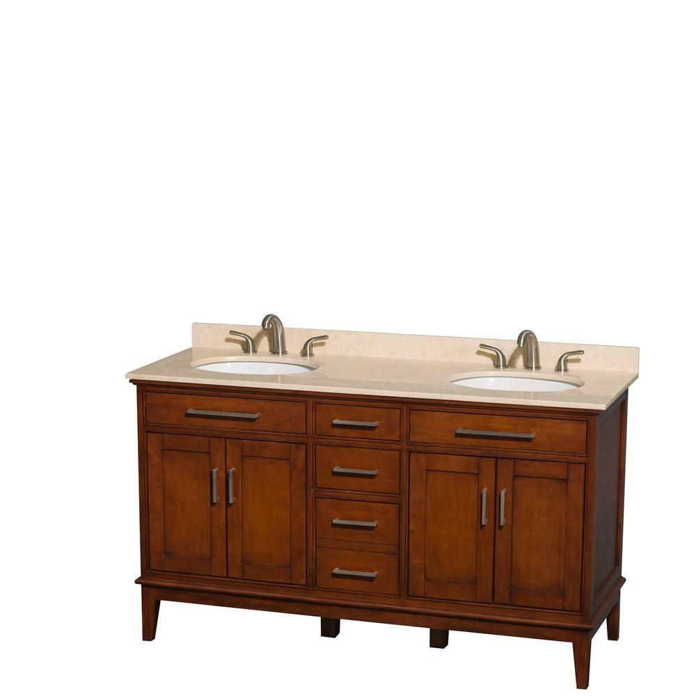 Hatton 60-inch W Double Vanity in Light Chestnut with Marble Top in Ivory and Oval Sinks