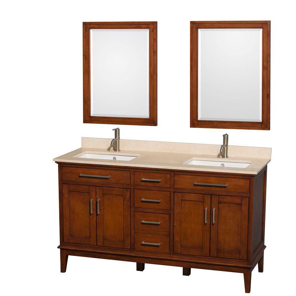 Hatton 60 po Meuble dbl. châtain clair et revêtement en marbre ivoire, éviers carrés et miroir