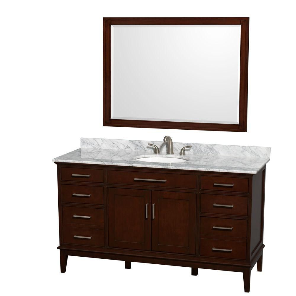 Hatton 60-inch W Double Vanity in Dark Chestnut with Marble Top, Oval Sinks and Mirror