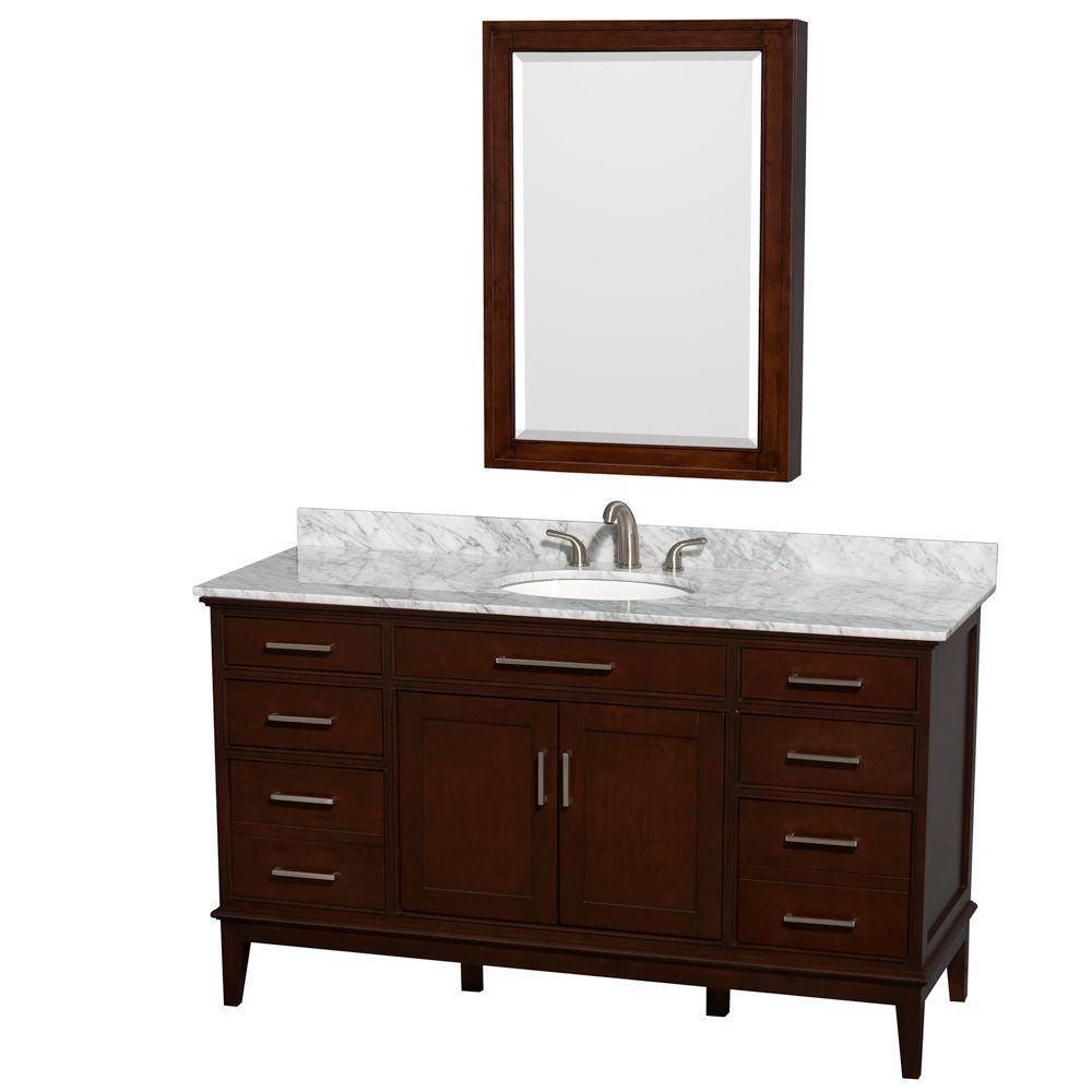 Hatton 60-inch W Double Vanity in Dark Chestnut with Marble Top, Sinks and Medicine Cabinet