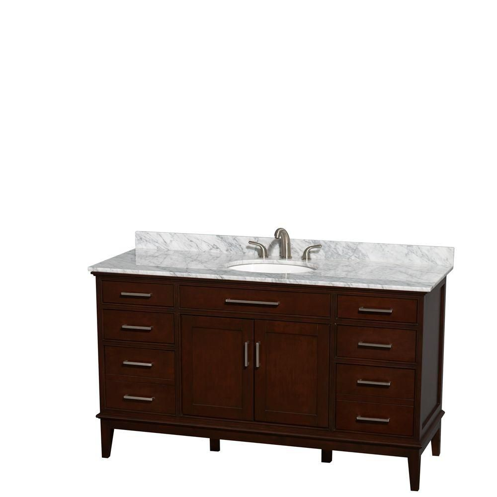 Hatton 60-inch W Double Vanity in Dark Chestnut with Marble Top in Carrara White and Oval Sinks