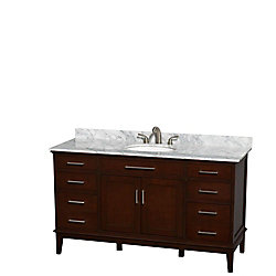 Wyndham Collection Hatton 60-inch W 6-Drawer 2-Door Freestanding Vanity in Brown With Marble Top in White