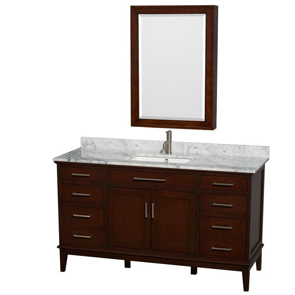 Hatton 60-inch W Double Vanity in Dark Chestnut with Marble Top, Square Sinks and Medicine Cabine...