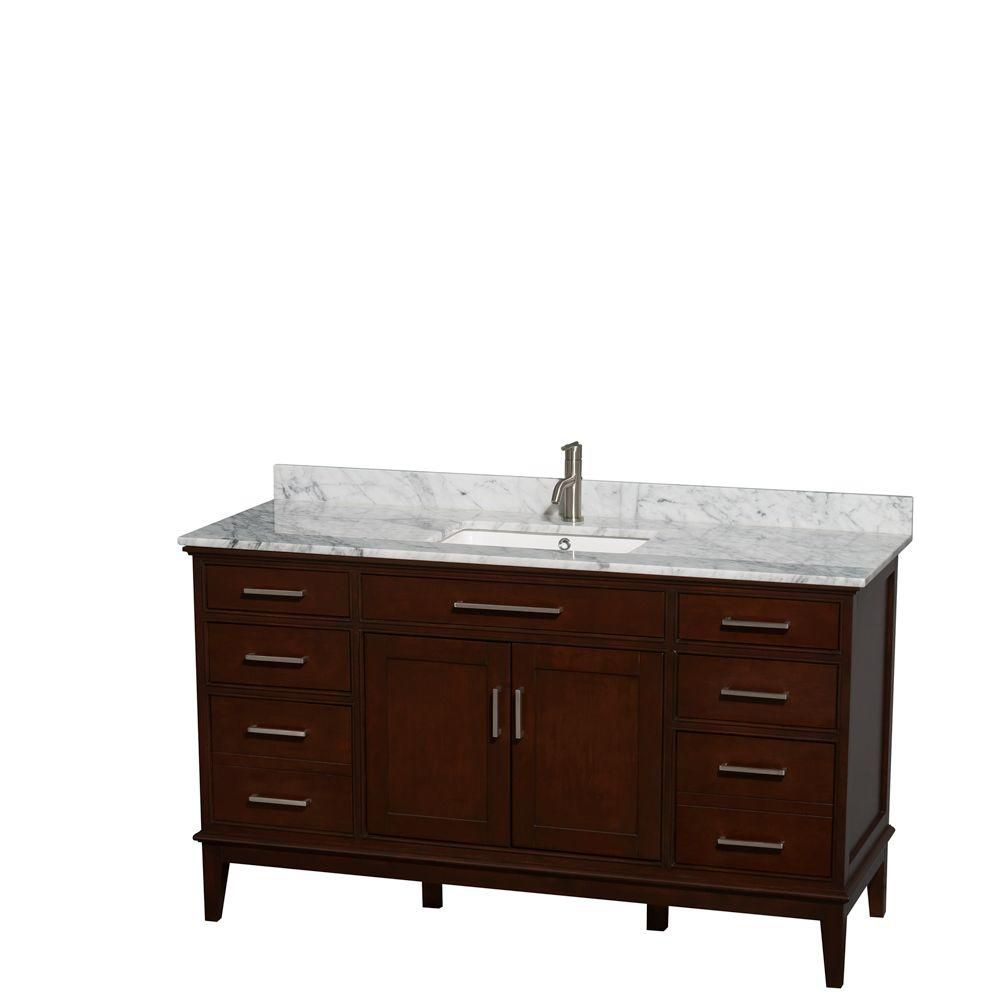 Hatton 60-inch W Double Vanity in Dark Chestnut with Marble Top and Square Sinks