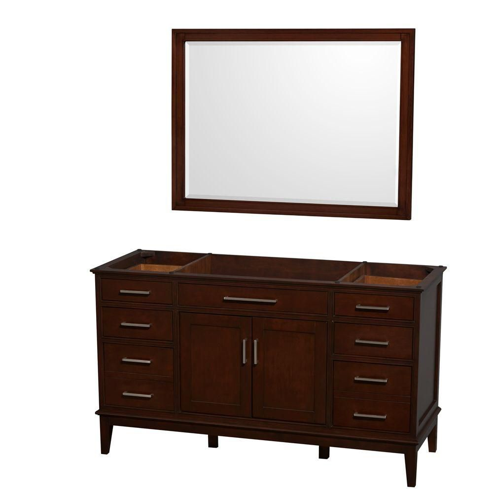 Hatton 59-Inch  Vanity Cabinet with Mirror in Dark Chestnut