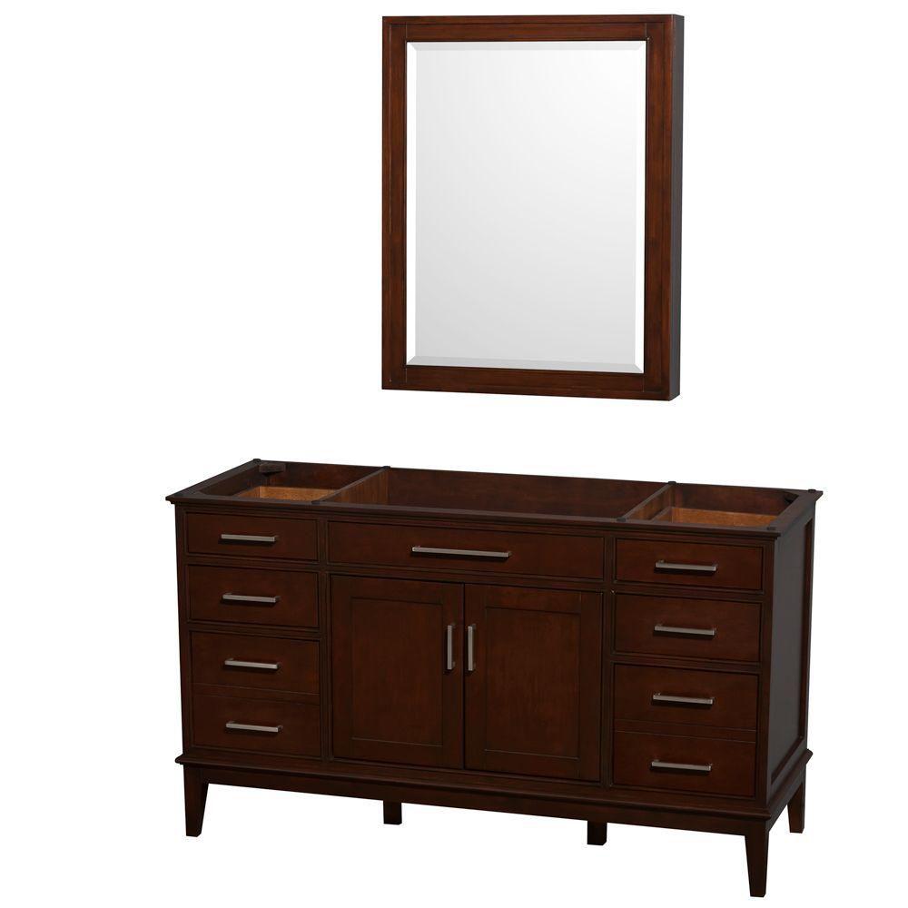 Hatton 59-Inch  Vanity Cabinet with Mirror Medicine Cabinet in Dark Chestnut