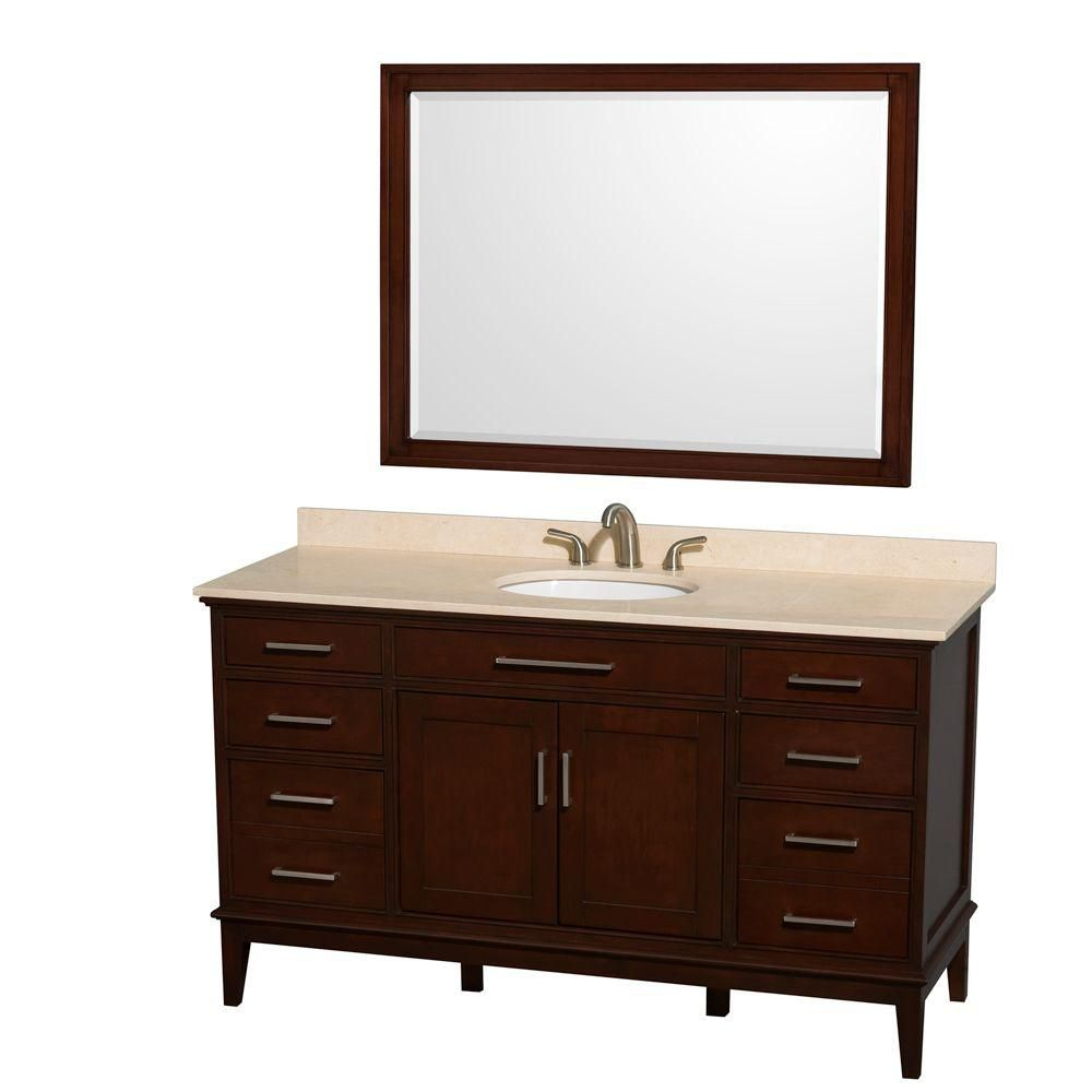 Hatton 60-inch W Vanity in Dark Chestnut with Marble Top in Ivory, Sink and Mirror
