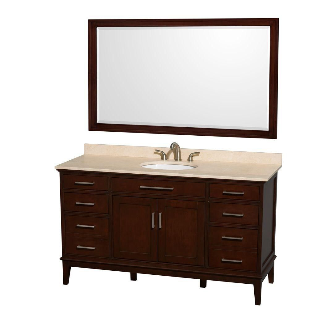 Hatton 60-inch W Vanity in Dark Chestnut with Marble Top in Ivory and 56-inch Mirror