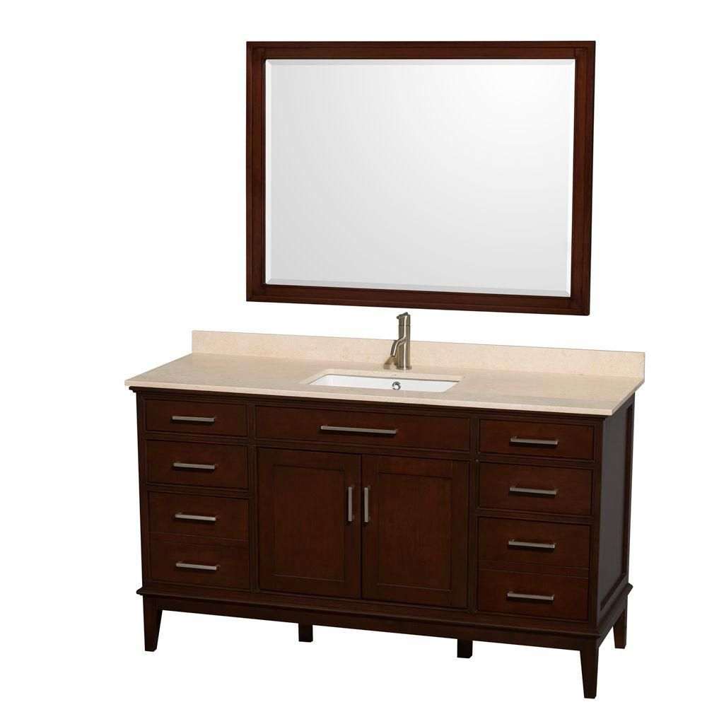 Hatton 60-inch W Vanity in Dark Chestnut with Marble Top, Square Sink and Mirror